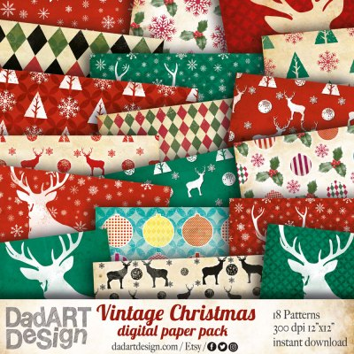 Vintage Christmas Digital Paper Pack