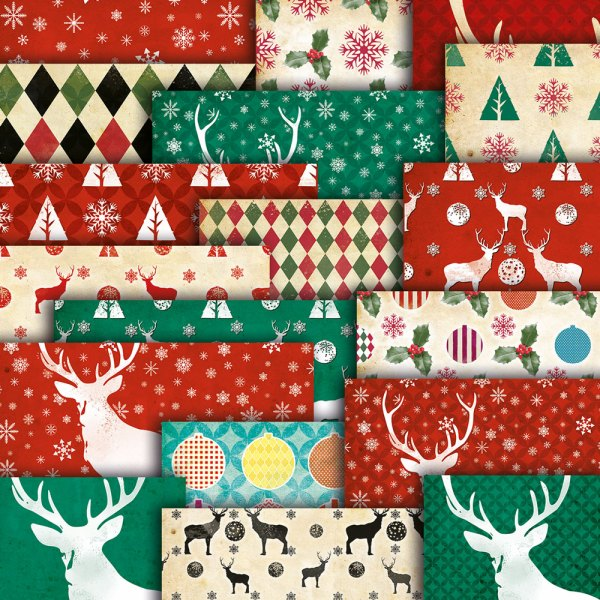 Retro Christmas Digital Paper Pack