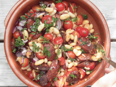 Chorizo with beans and tomatoes
