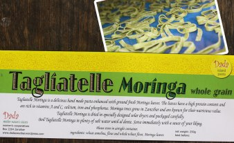 Tagliatelle Moringa is a delicious hand made pasta enhanced with ground fresh Moringa leaves. The leaves have a high protein content and are rich in vitamins A and C, calcium, iron and phosphorus. Moringa trees grow in Zanzibar and are known for their nutricious value. Tagliatelle Moringa is dried in specially designed solar dryers and packaged carefully. Boil Tagliatelle Moringa in plenty of salt water until al dente. Serve immediately with a sauce of your liking.
