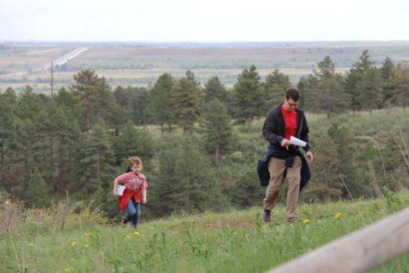 O and Moe hiking Boulder