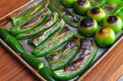 Blackening the peppers and tomatillos: most of the way there, but could still use a little more
