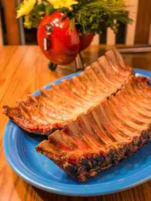 Gas Grilled Baby Back Ribs brined, with garlic, sage, and rosemary rub