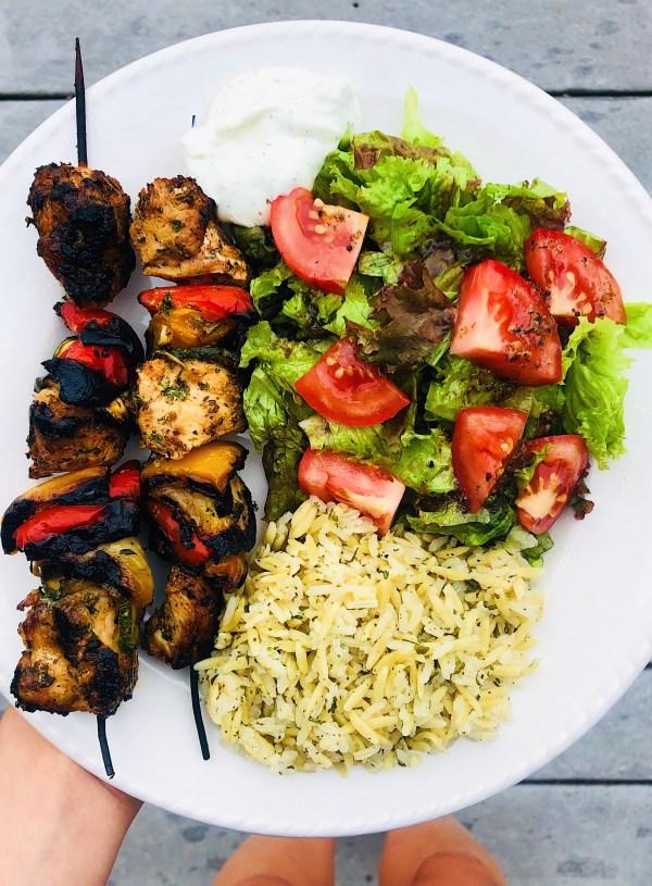 Greek Chicken Skewers with Herbed Rice & Salad