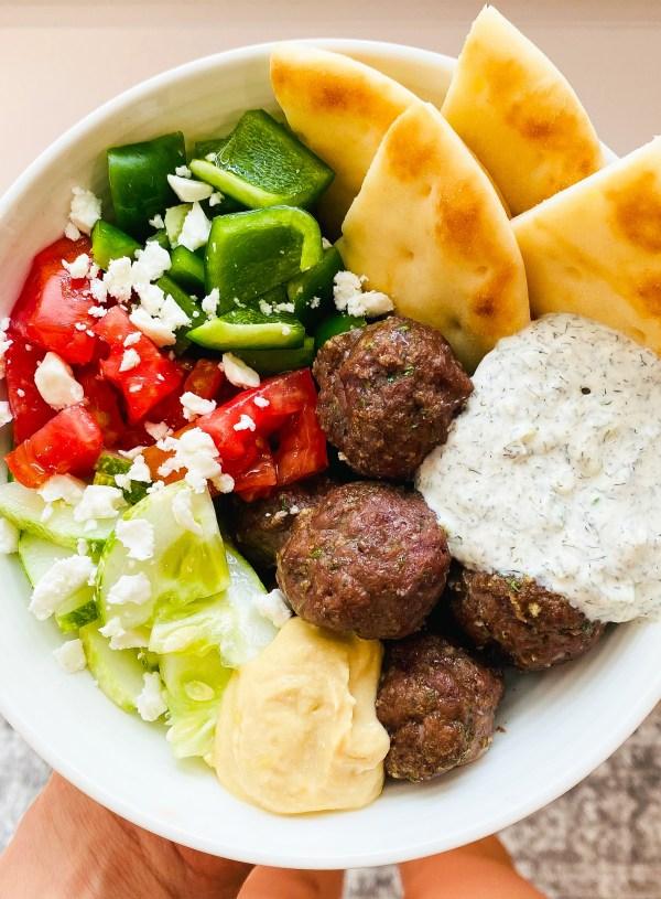 Greek Meatballs with Tzatziki & Veggie Medley