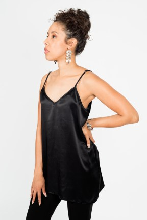 100% Silk Stella Midi (Black)
