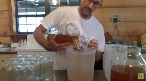 Make Kombucha - Second Fermentation - Some claim that the metal strainer damages the bacteria. I've had no problems with it, but if it bothers you, you can use cheese cloth or a plastic strainer.