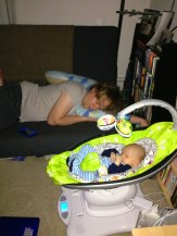 Daddy's Grounded - 4moms mamaRoo - Nap time with daddy.