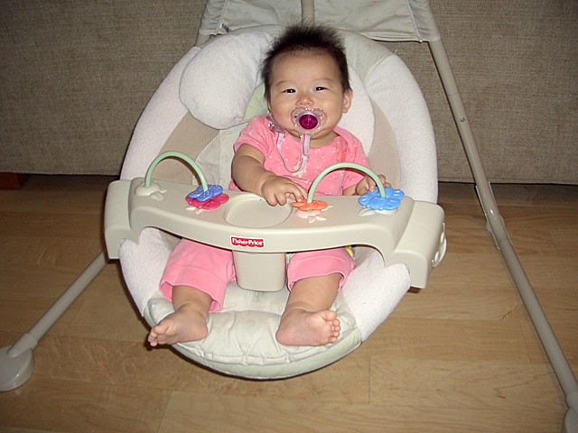 A baby in a fisher price baby swing