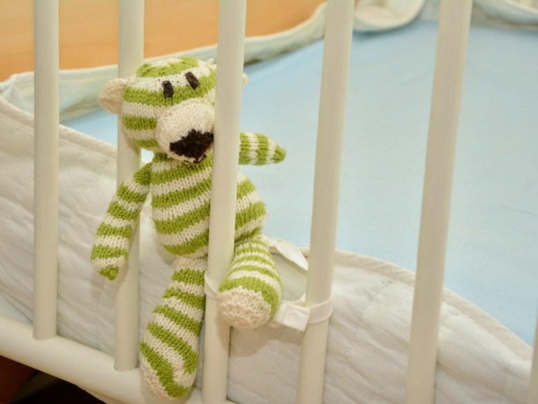 A stuffed animal inside a small crib