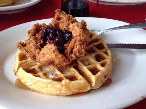 Chicken and waffles brunch from The Red Eyed Mule Marietta GA