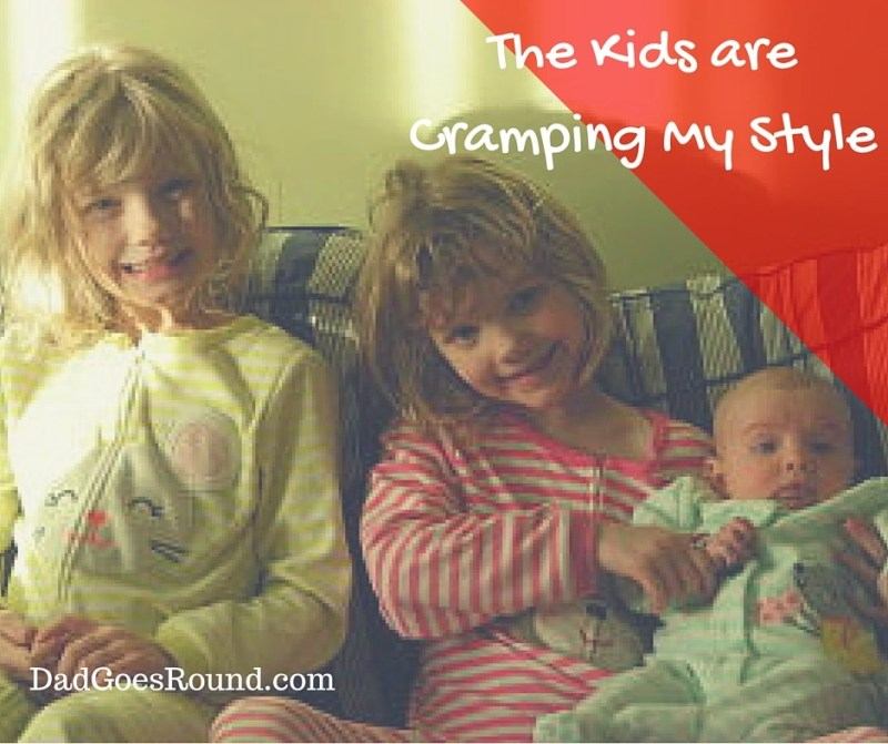 """Image of three sisters with text """"The kids are cramping my style"""""""