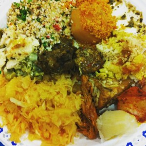 Image of a plate of food from a variety of cultures
