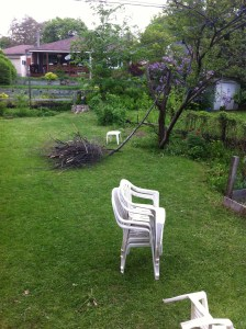 Image of a backyard with a tree that has been partially cut down.