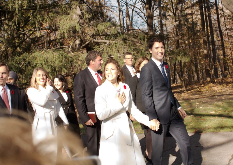Image of Prime Minister Justin Trudeau and Sophie Gregoire en route to swearing in ceremony