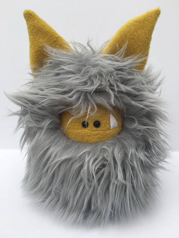 Fuzzling monsters - Stuffed Grey and Gold Monster