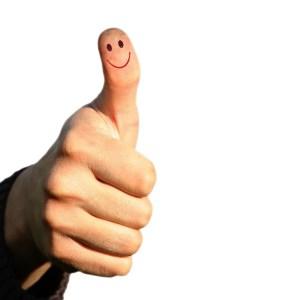 Thumb, happy face