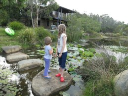 granddaughters on the stepping stones