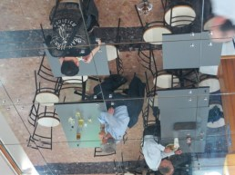 mirrored ceiling in the food court