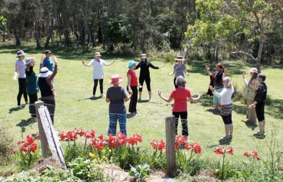 Dru yoga in the garden