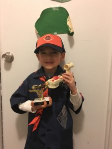 the Hydrid and his first pine wood derby car, a Star Wars landspeeder. He placed 3rd in his den. Out of three scouts.