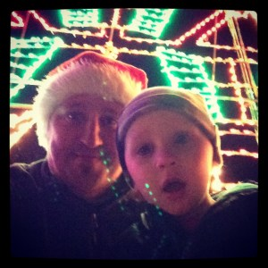 Charlie and Daddy enjoying the lights