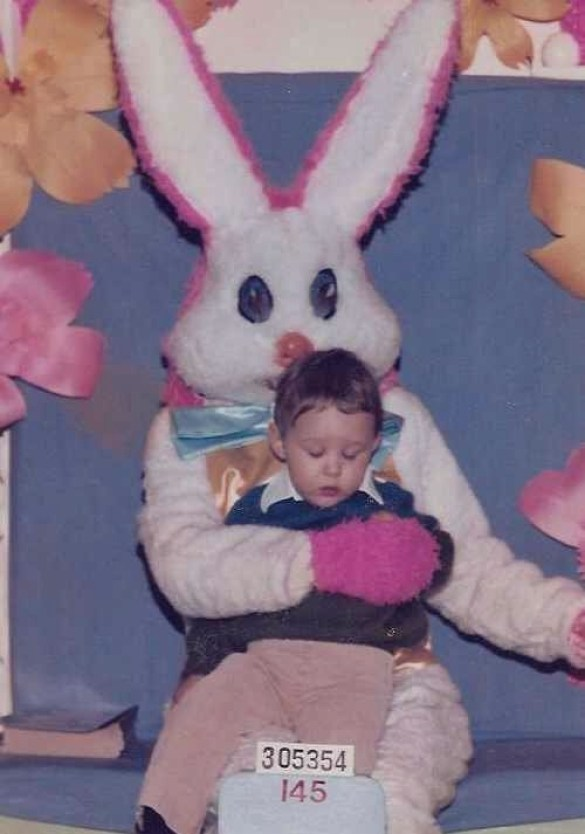 Adrian with Easter Bunny as a kid