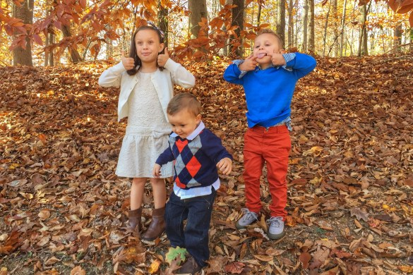 Ava Charlie and Mason in tgiving outfits outtake