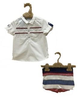 Foque conjunto bebé bermuda rayas camisa Colección Mykonos