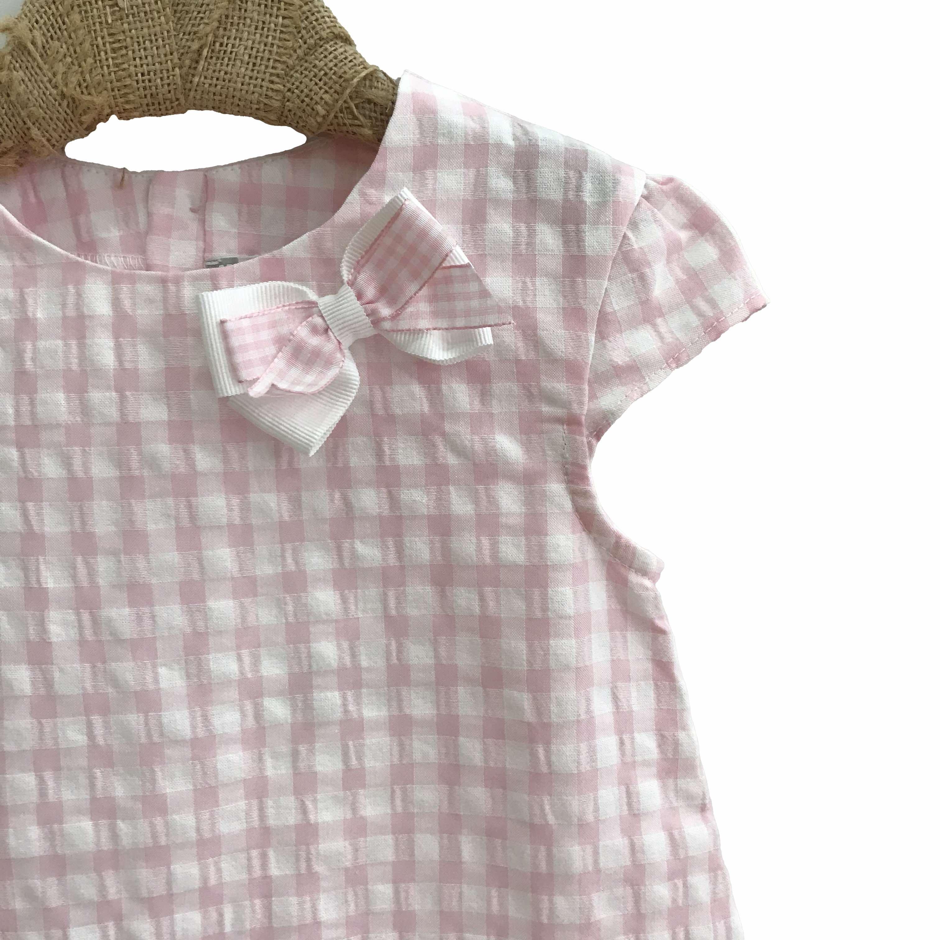 9577ed4b0 Tutto Piccolo conjunto short y blusa cuadro vichy rosa - Dados