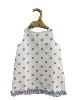 Floc Baby vestido bebé trapecio topos celestes