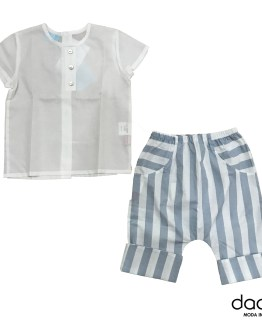 Floc Baby Conjunto pantalón rayas camisa blanca