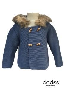 Sigar chaqueta con capucha pelo azul sombra