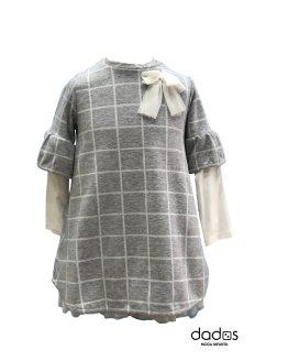 IDO vestido gris cuadros manga larga