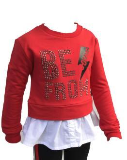 Aygey Conjunto legging y sudadera roja detalle