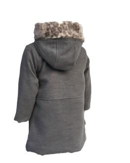 Coco abrigo muflón gris espalda