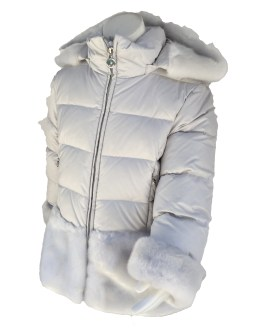 Elsy abrigo gris acolchado detalle