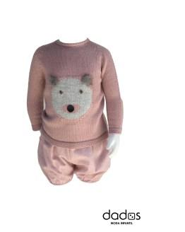 Floc Baby conjunto rosa oso