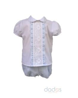 Dolce Petit conjunto pantalon celeste y camisa