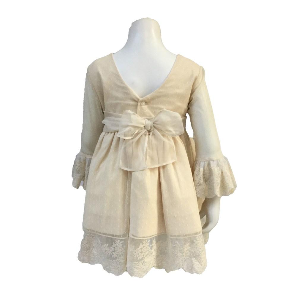 Espalda Dolce Petit vestido beige gasa