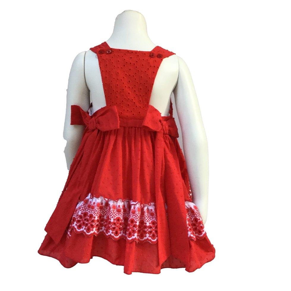 Espalda Dolce Petit vestido rojo con volante blanco