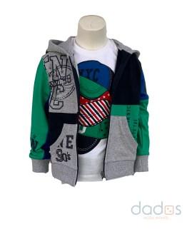 IDO chaqueta con capucha azul y verde
