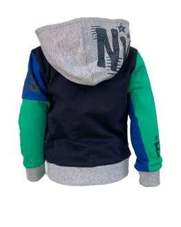 espalda IDO chaqueta con capucha azul y verde