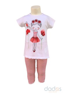IDO conjunto legging y camiseta niña con flores