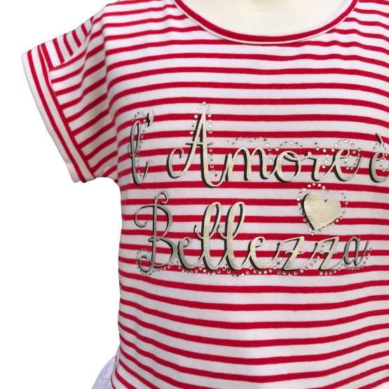 Detalle IDO camiseta niña rayas rojo y blanco