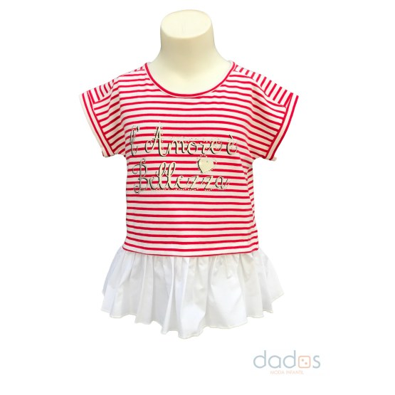 IDO camiseta niña rayas rojo y blanco