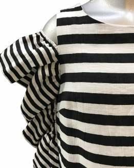 Detalle MONNALISA vestido rayas blanco y negro