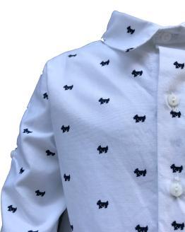 Coco Acqua conjunto niño camisa perros detalle