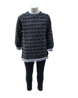 IDO conjunto legging gris y negro letras