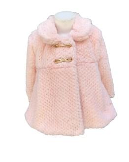Marta y Paula abrigo pelo bebé rosa con capota